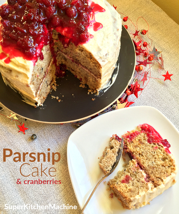 Parsnip cake with cranberries
